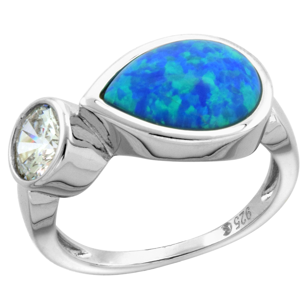 Sterling Silver Synthetic Opal Cabochon Teardrop Ring for Women with 6mm CZ 7/16 inch wide sizes 6-9