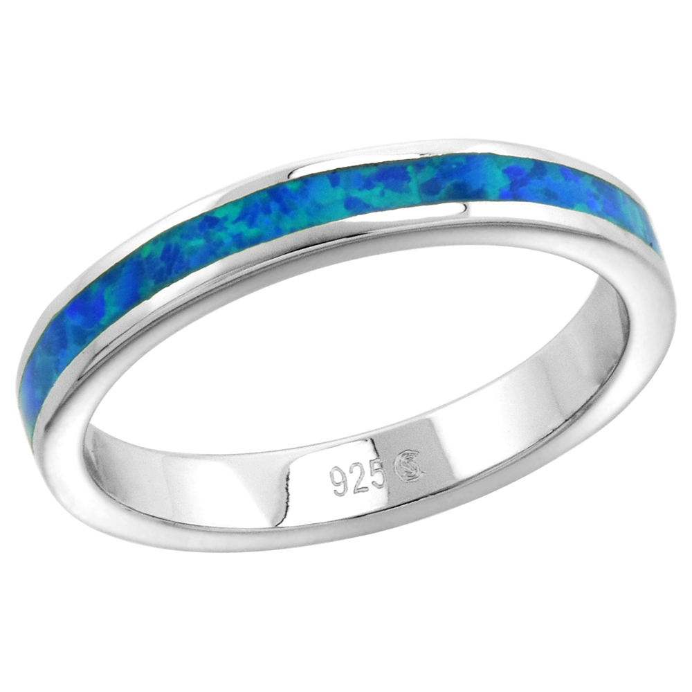 Sterling Silver 3mm Stackable Synthetic Opal Stripe Wedding Band Ring for Women sizes 6-9