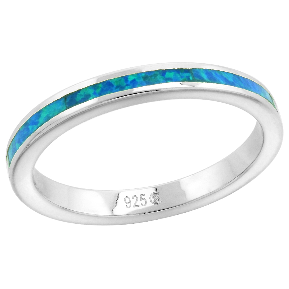 Sterling Silver 2.5mm Stackable Synthetic Opal Stripe Wedding Band Ring for Women sizes 6-9