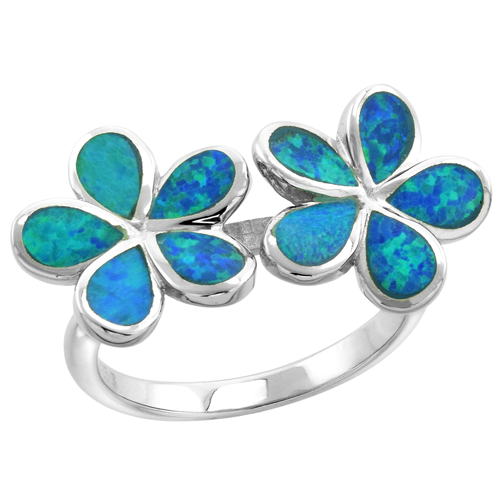 Sterling Silver Synthetic Opal Double Plumeria Ring for Women 1 inch wide sizes 6-9