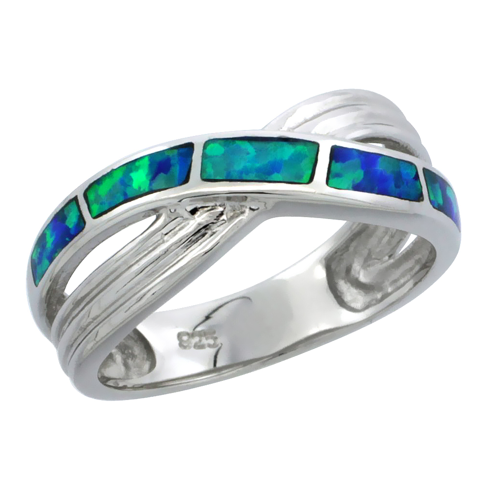 Sterling Silver Synthetic Blue Opal Crisscross Ring, 5/16 inch