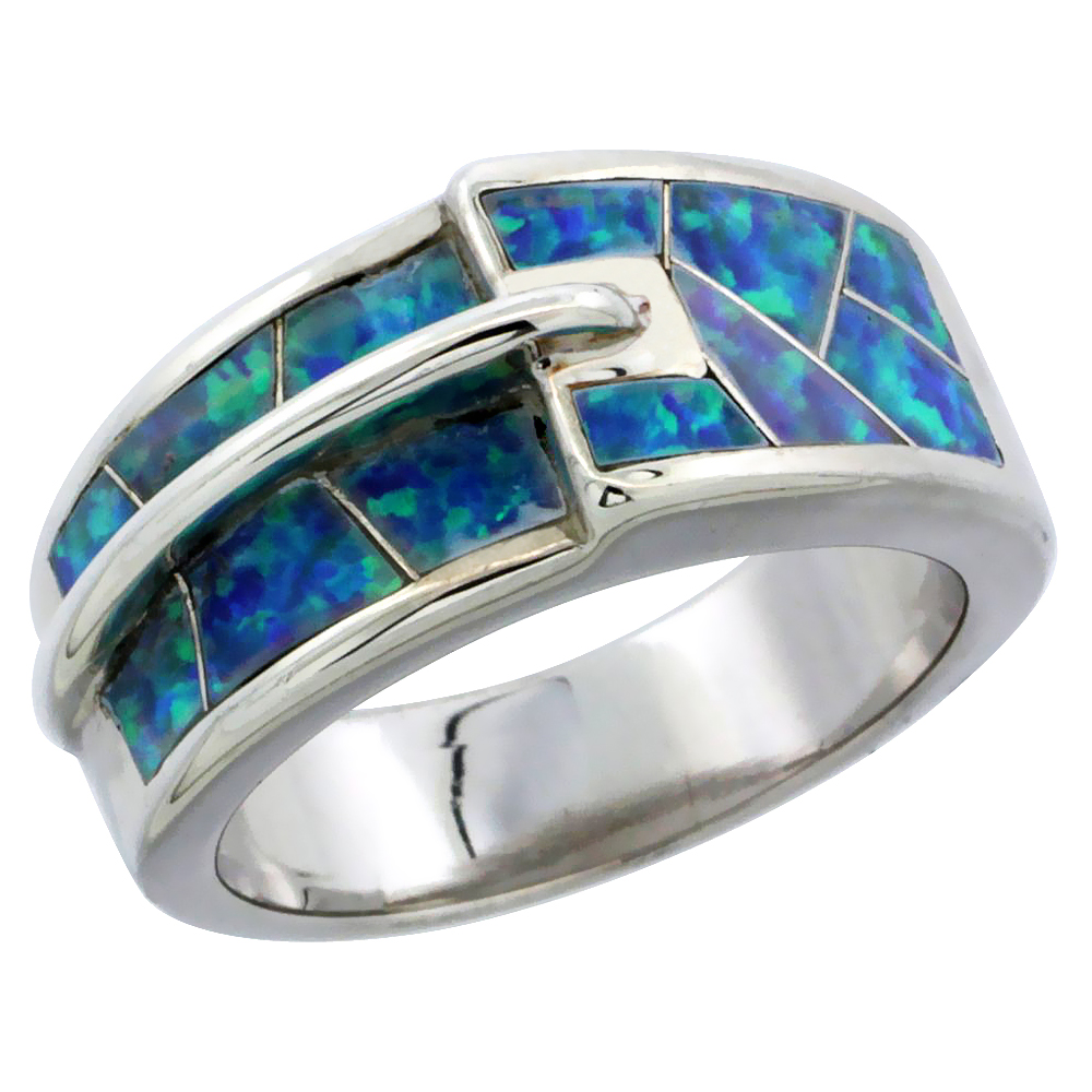 Sterling Silver Synthetic Blue Opal Ring, 3/8 inch