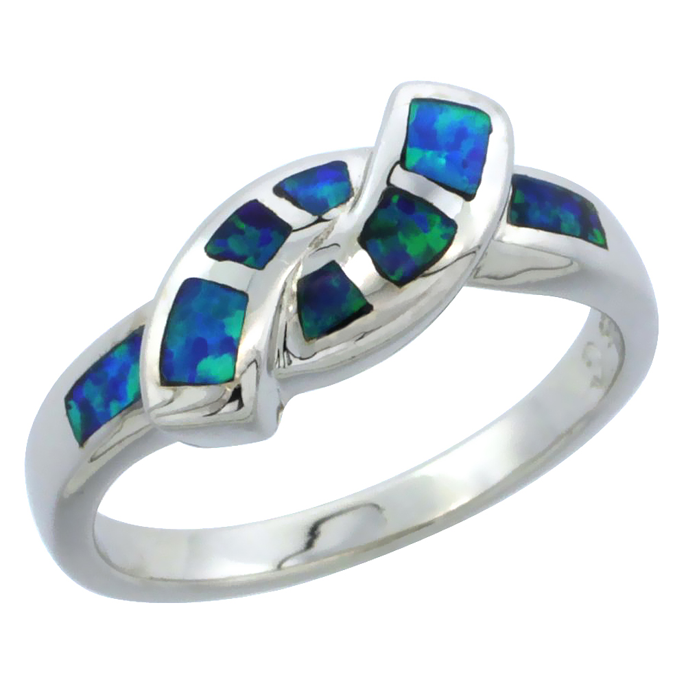 Sterling Silver Synthetic Blue Opal Friendship Knot Ring, 3/16 inch