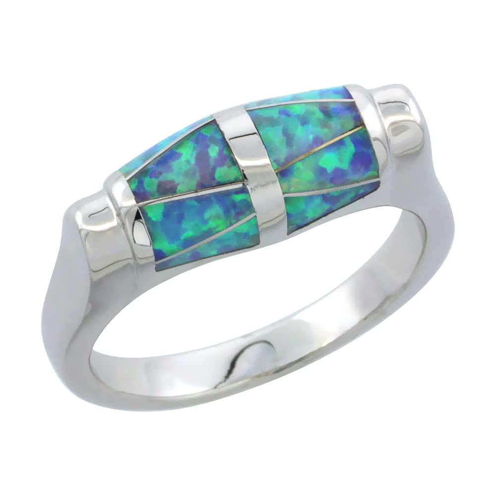 Sterling Silver Synthetic Blue Opal Ring, 1/4 inch