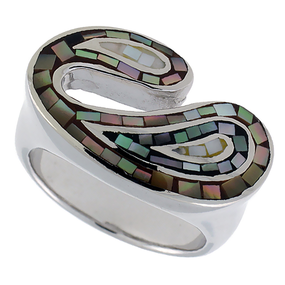 Sterling Silver Natural Shell Mosaic Free Form Ring, 15/16 inch wide