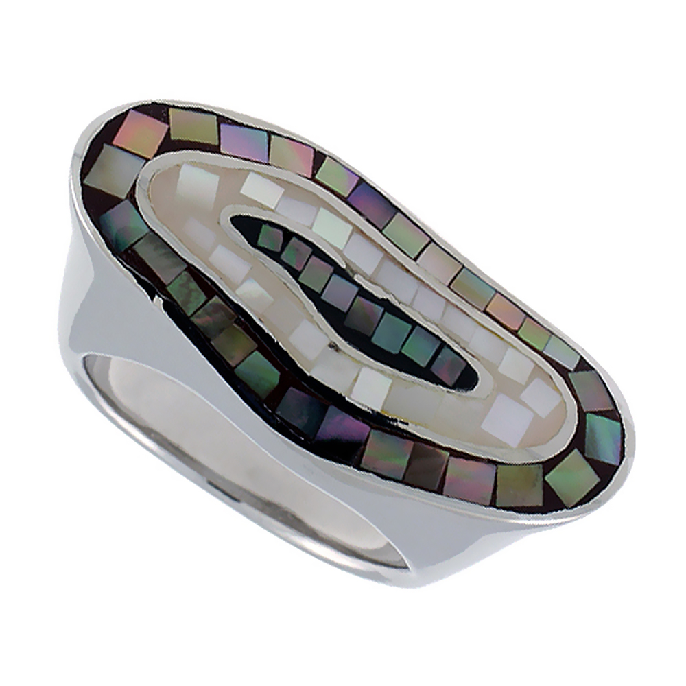 Sterling Silver Natural Shell Mosaic Elongated Ring, 9/16 inch wide