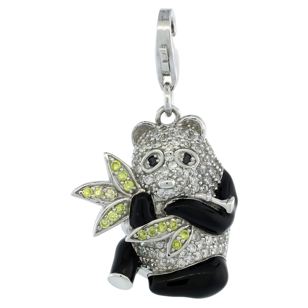 Sterling Silver Panda Bear Charm for Bracelet, 15/16 in. (24 mm) tall, Black Enamel Finish