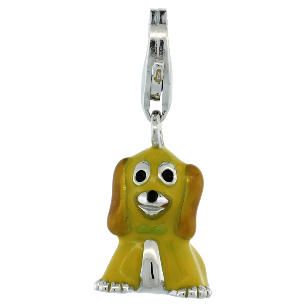 Sterling Silver Sitting Puppy Dog Charm for Bracelet, 5/8 in. (16 mm) tall, Enamel Finish