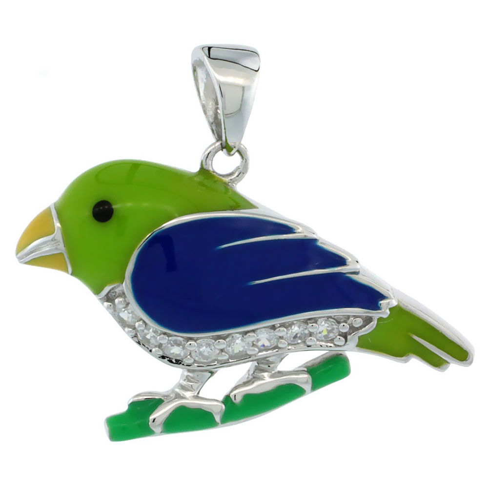 Sterling Silver Enamel Green & Blue Song Bird Pendant for Women CZ Accent 1 inch