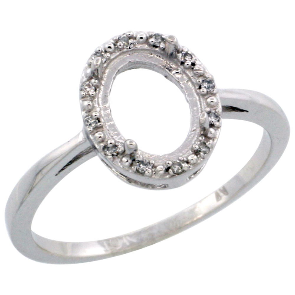 14K White Gold Semi-Mount Ring ( 8x6 mm ) Oval Stone & 0.05 ct Diamond Accents, sizes 5 - 10