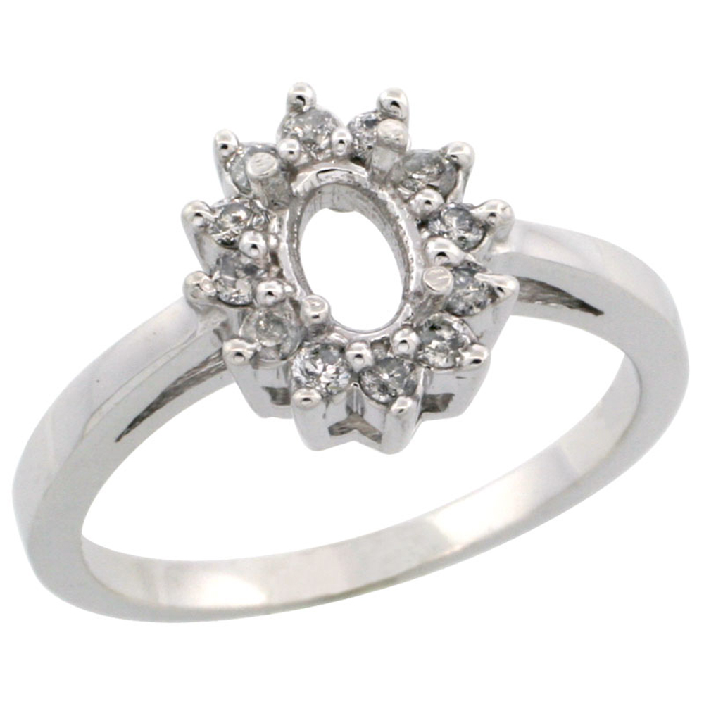 14K White Gold Semi-Mount Ring ( 6x4 mm ) Oval Stone & 0.22 ct Diamond Accents, sizes 5 - 10