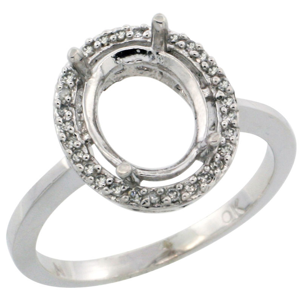 10k White Gold Semi-Mount Ring ( 10x8 mm ) Oval Stone & 0.15 ct Diamond Accents, sizes 5 -10