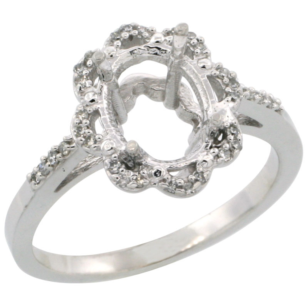 10k White Gold Semi-Mount Floral Ring ( 9x7 mm ) Oval Stone & 0.1 ct Diamond Accent, sizes 5 - 10