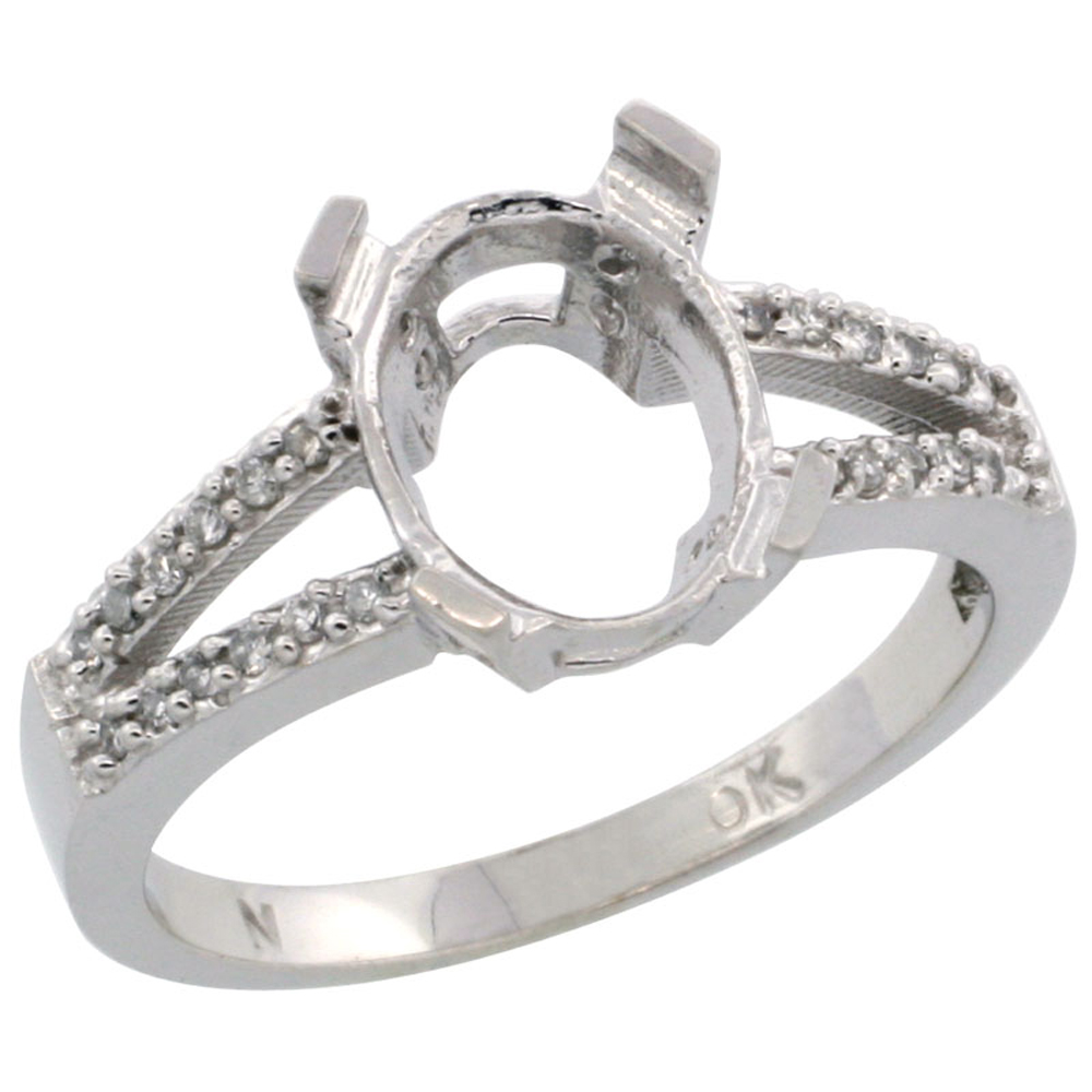 14K White Gold Semi-Mount Ring ( 10x8 mm ) Oval Stone & 0.09 ct Diamond Accent, sizes 5 - 10