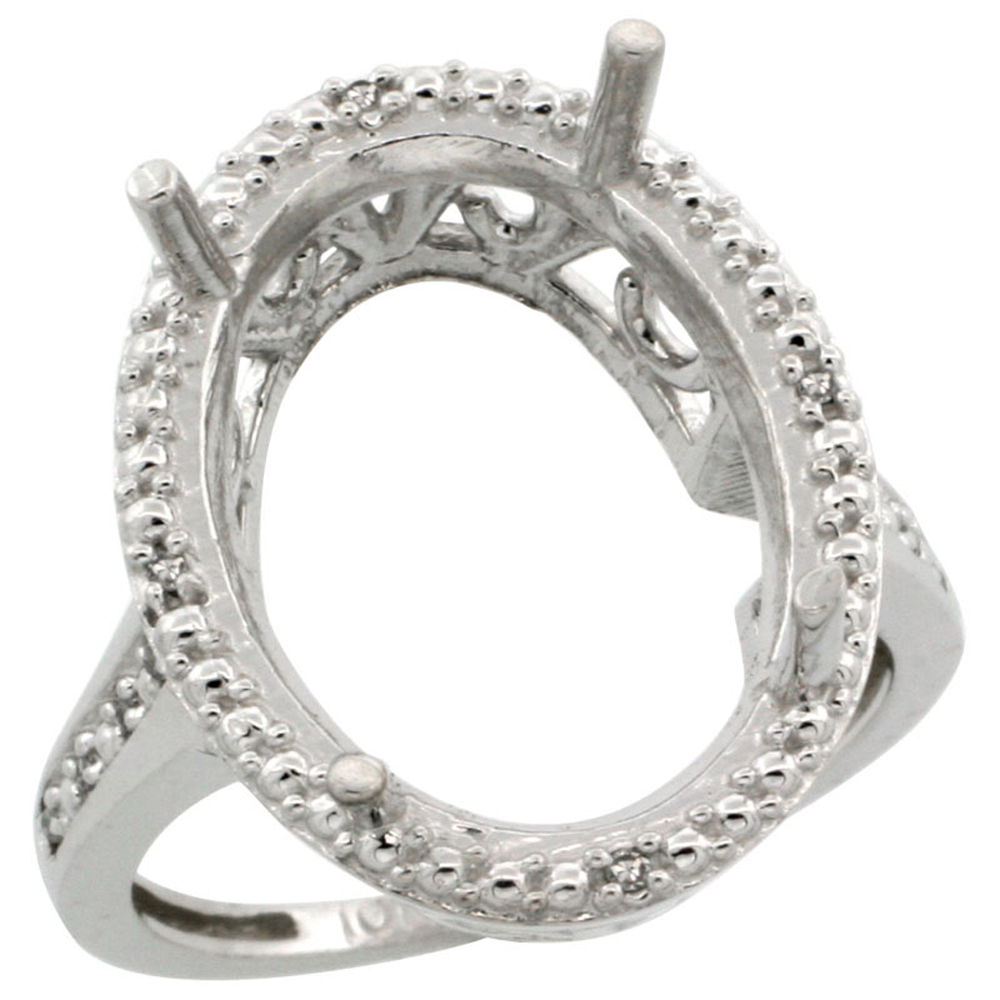 10k White Gold Semi-Mount Ring ( 18x13 mm ) Large Oval Stone & 0.04 ct Diamond Accent, size 5 - 10