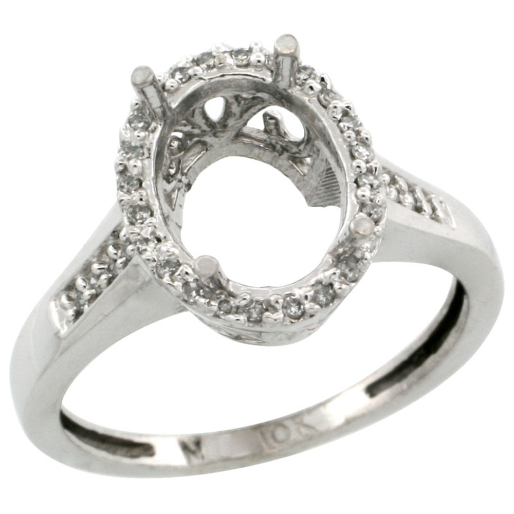 10k White Gold Semi-Mount Ring ( 10x8 mm ) Oval Stone & 0.2 ct Diamond Accent, sizes 5 - 10
