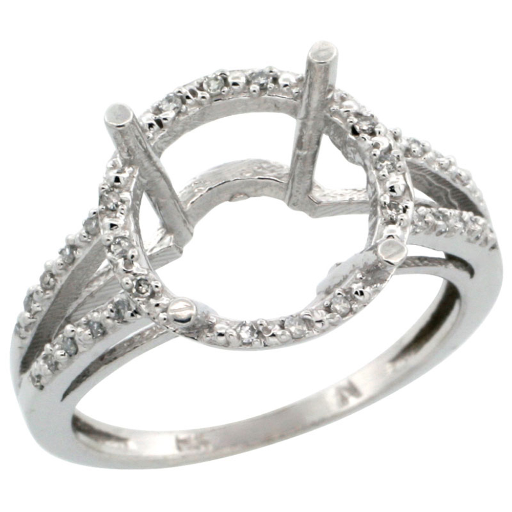 10k White Gold Semi-Mount Ring ( 11 mm ) Large Round Stone & 0.15 ct Diamond Accent, sizes 5 - 10
