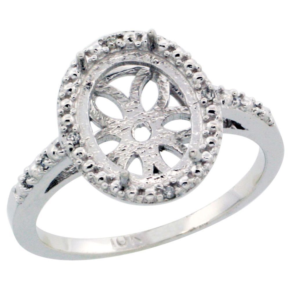 14K White Gold Semi-Mount Ring ( 10x8 mm ) Oval Stone & 0.022 ct Diamond Accent, sizes 5 - 10
