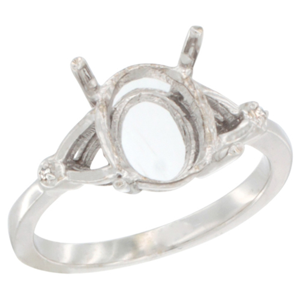 14K White Gold Semi-Mount Ring ( 10x8 mm ) Oval Stone & 0.007 ct Diamond Accent, sizes 5 - 10