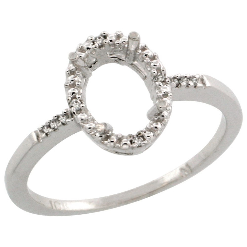 14K White Gold Semi-Mount Ring ( 8x6 mm ) Oval Stone & 0.03 ct Diamond Accent, sizes 5 - 10