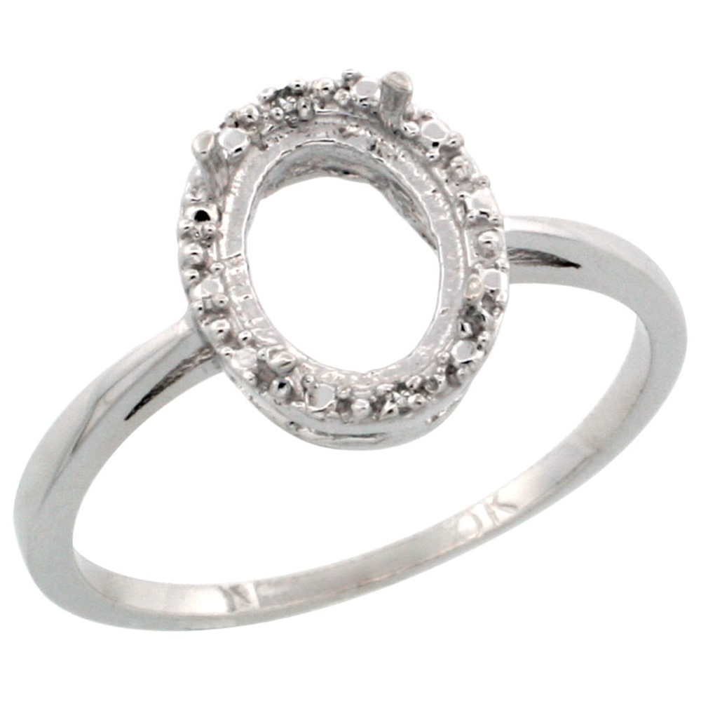 10k White Gold Semi-Mount Ring ( 8x6 mm ) Oval Stone & 0.01 ct Diamond Accent, sizes 5 - 10