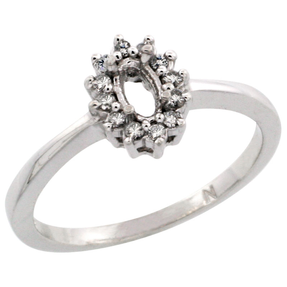14K White Gold Semi-Mount Ring ( 5x3 mm ) Oval Stone & 0.097 ct Diamond Accent, sizes 5 - 10