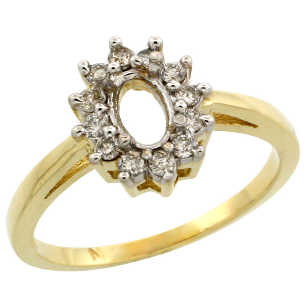 14K Yellow Gold Semi-Mount Ring ( 6x4 mm ) Oval Stone & 0.22 ct Diamond Accents, sizes 5 - 10