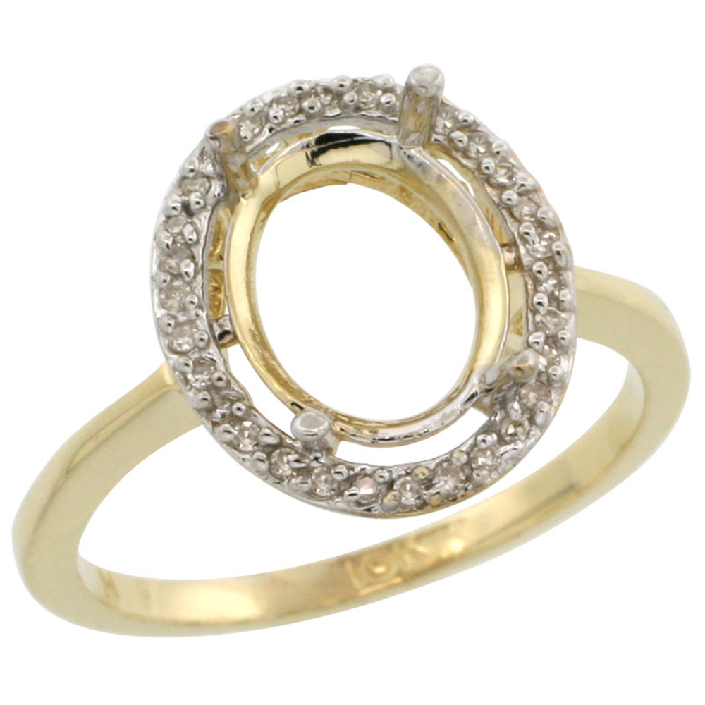 14K Yellow Gold Semi-Mount Ring ( 10x8 mm ) Oval Stone & 0.067 ct Diamond Accents, sizes 5 -10