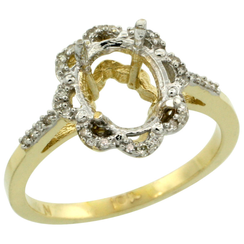 10k Yellow Gold Semi-Mount Floral Ring ( 9x7 mm ) Oval Stone & 0.1 ct Diamond Accent, sizes 5 - 10
