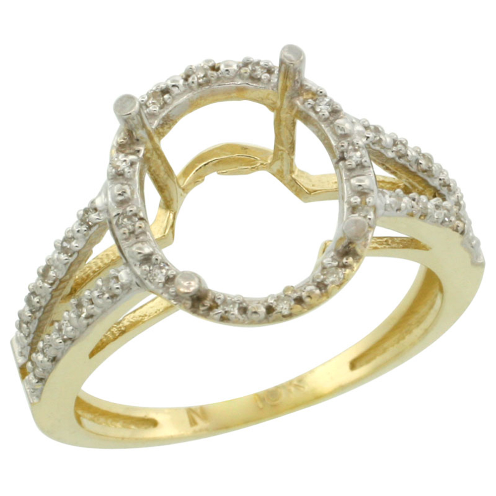 10k Yellow Gold Semi-Mount Ring ( 11x9 mm ) Oval Stone & 0.35 ct Diamond Accent, sizes 5 - 10