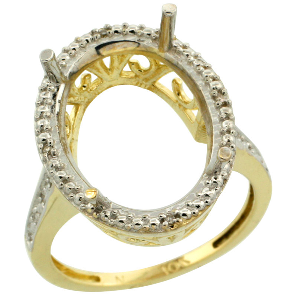 10k Yellow Gold Semi-Mount Ring ( 18x13 mm ) Large Oval Stone & 0.04 ct Diamond Accent, size 5 - 10