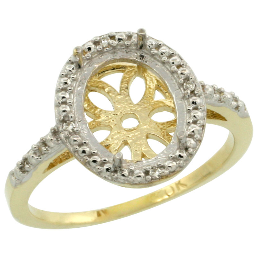 10k Yellow Gold Semi-Mount Ring ( 10x8 mm ) Oval Stone & 0.05 ct Diamond Accent, sizes 5 - 10
