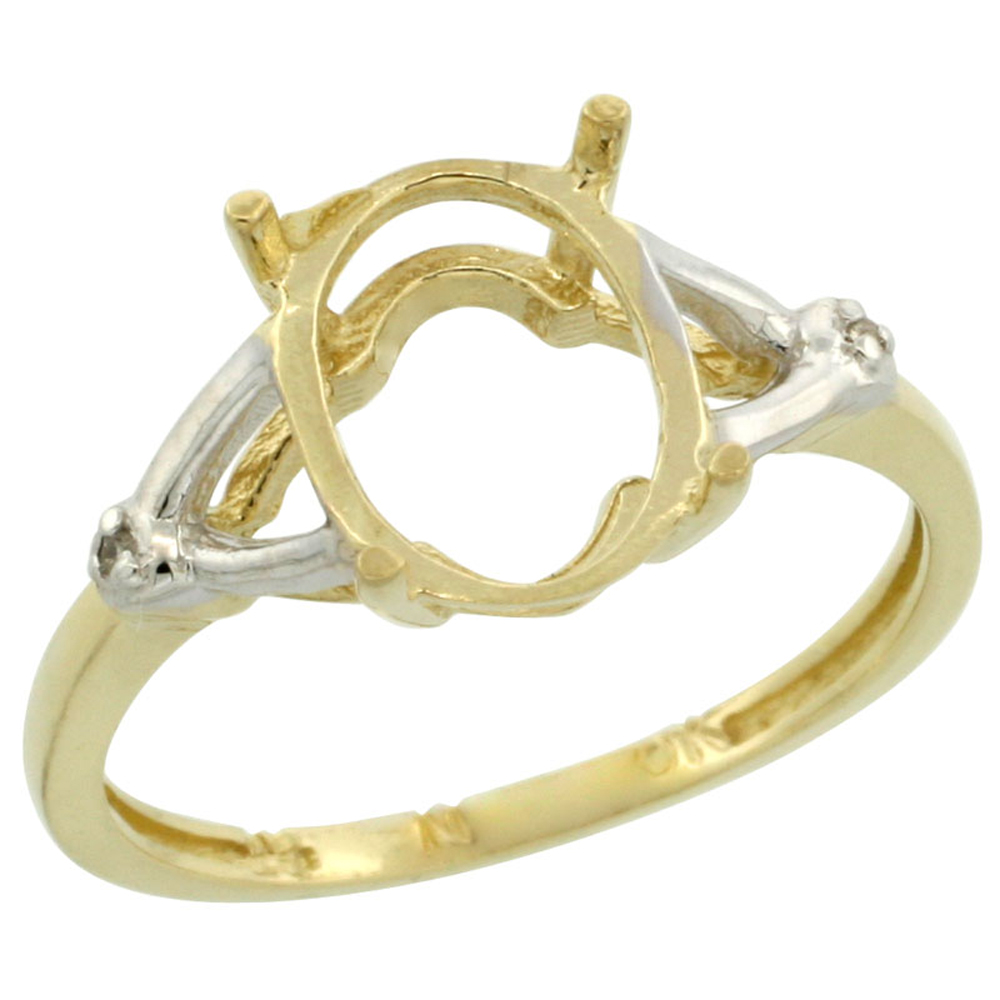 10k Yellow Gold Semi-Mount Ring ( 10x8 mm ) Oval Stone & 0.01 ct Diamond Accent, sizes 5 - 10