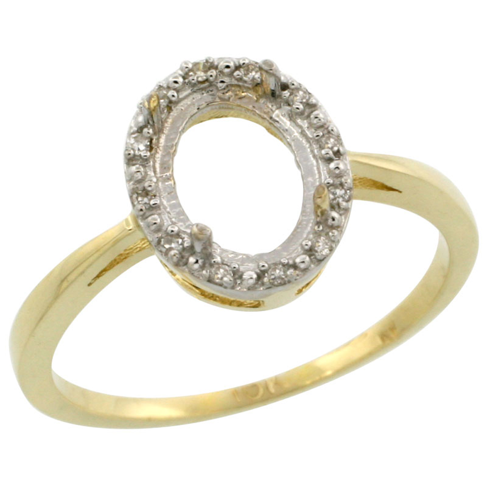 10k Yellow Gold Semi-Mount Ring ( 8x6 mm ) Oval Stone & 0.01 ct Diamond Accent, sizes 5 - 10