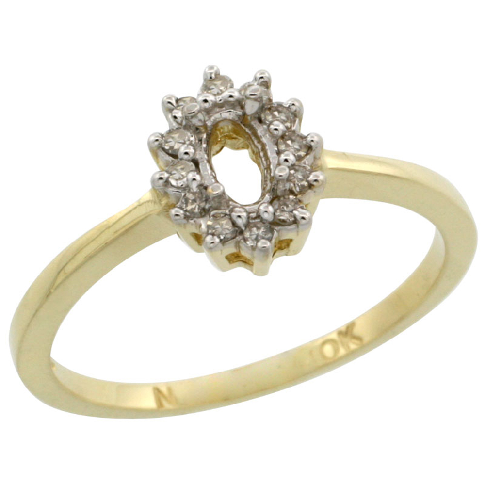 10k Yellow Gold Semi-Mount Ring ( 5x3 mm ) Oval Stone & 0.2 ct Diamond Accent, sizes 5 - 10