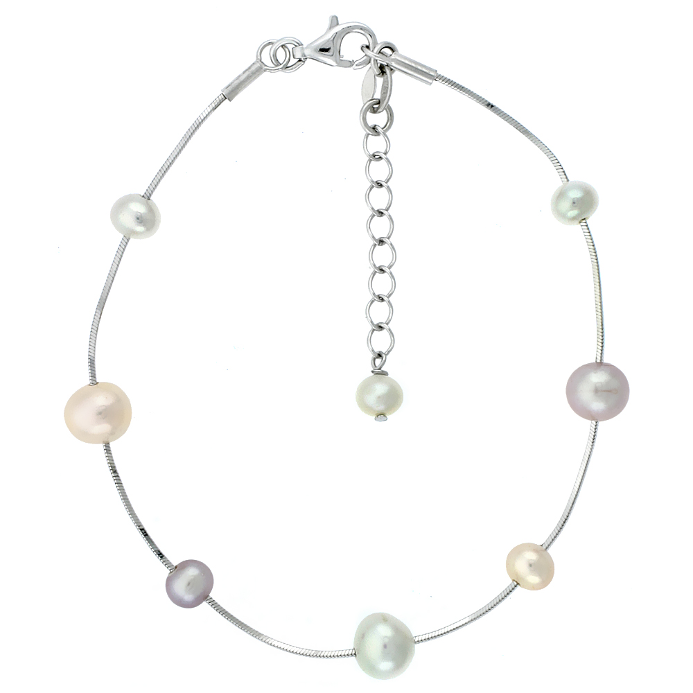 Sterling Silver Pearl Bracelet 7 mm and 5 mm Freshwater, 7.5 inch long + 1 in. Extension