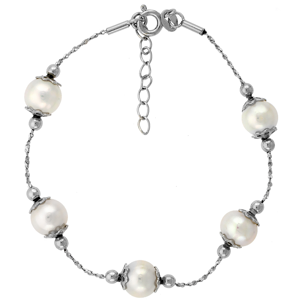 Sterling Silver Pearl Bracelet 8 mm Freshwater, 7 inch long + 1 in. Extension