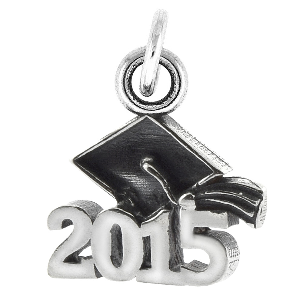 Sterling Silver 2015 Graduation Charm Pendant, 5/8 inch long