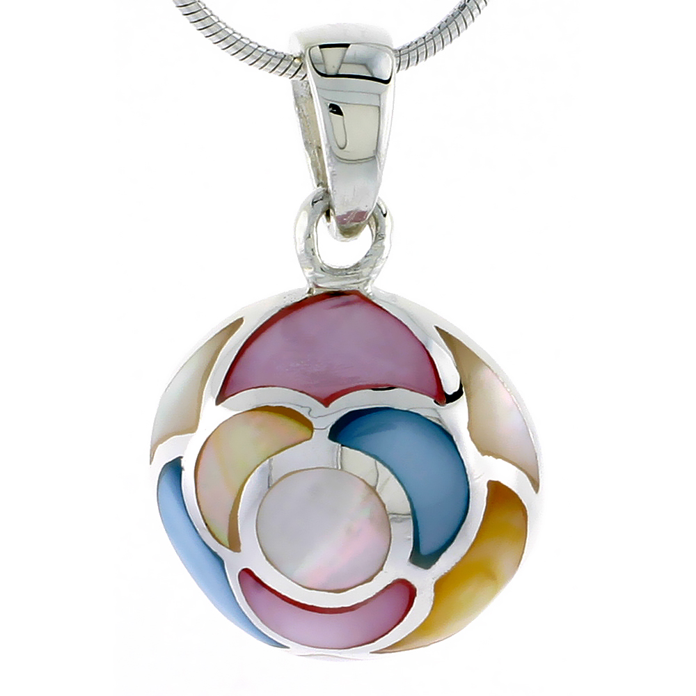 "Sterling Silver Round Pink, Blue, Light Yellow & White Mother of Pearl Inlay Pendant, 13/16"" (21 mm) tall"