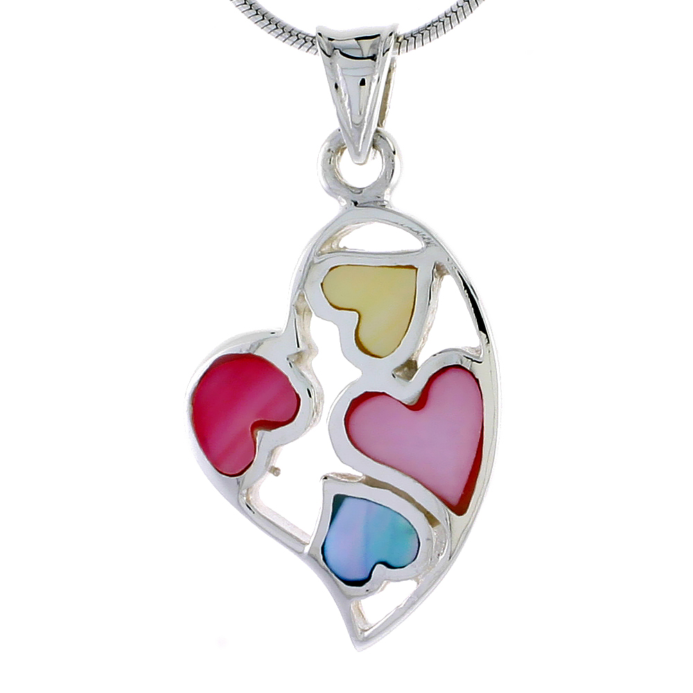 "Sterling Silver Heart Pink, Blue & Light Yellow Mother of Pearl Inlay Pendant, 1"" (25 mm) tall"