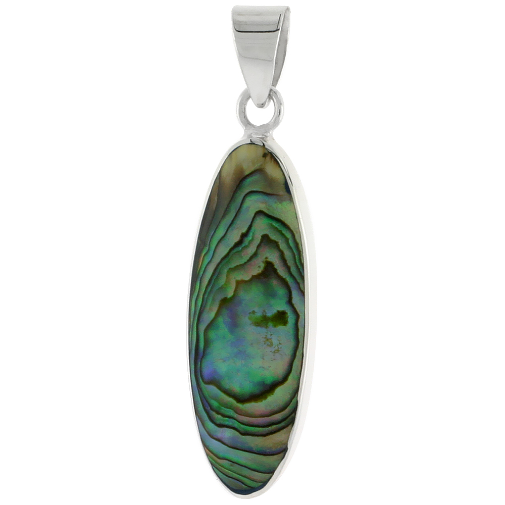 "Sterling Silver Oval Abalone Shell Inlay Pendant, 1 1/8"" (28 mm) tall"