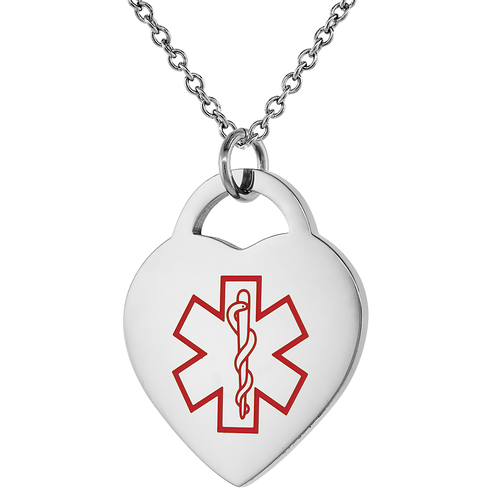 Surgical Steel Medical Alert Blood Thinner Necklace Heart Shape 7/8 Inch Wide, 24 Inch Long