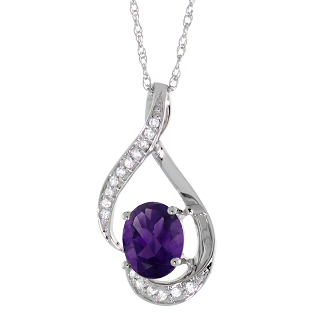 14K White Gold Diamond Natural Amethyst Necklace Oval 7x5 mm, 18 inch long