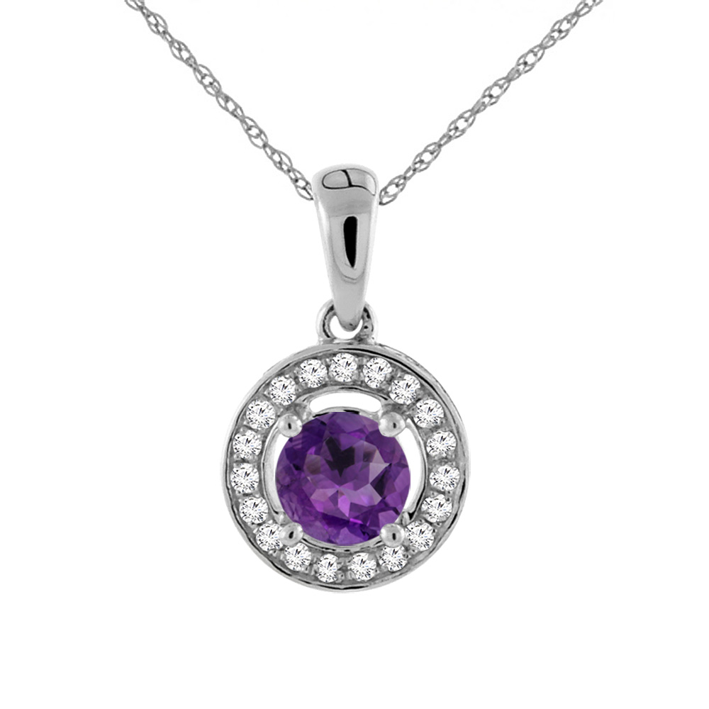 14K Gold Natural Gemstone Necklace with Diamond Halo Round 6 mm