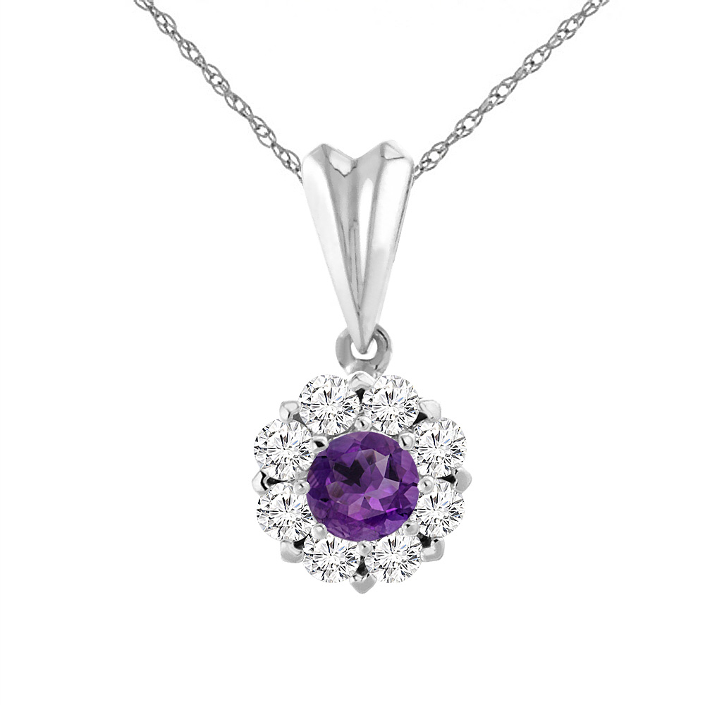 14K White Gold Natural Amethyst Necklace with Diamond Halo Round 4 mm