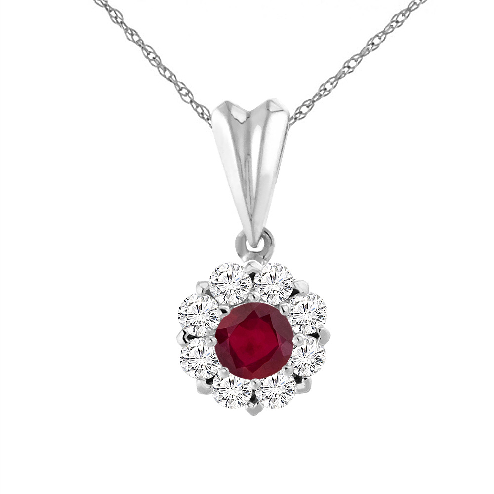 14K White Gold Enhanced Genuine Ruby Necklace with Diamond Halo Round 6 mm