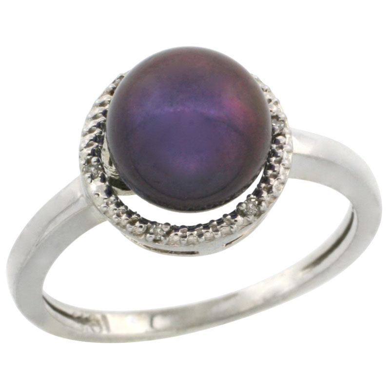 10k White Gold Halo Engagement 8.5 mm Black Pearl Ring w/ 0.022 Carat Brilliant Cut Diamonds, 7/16 in. (11mm) wide