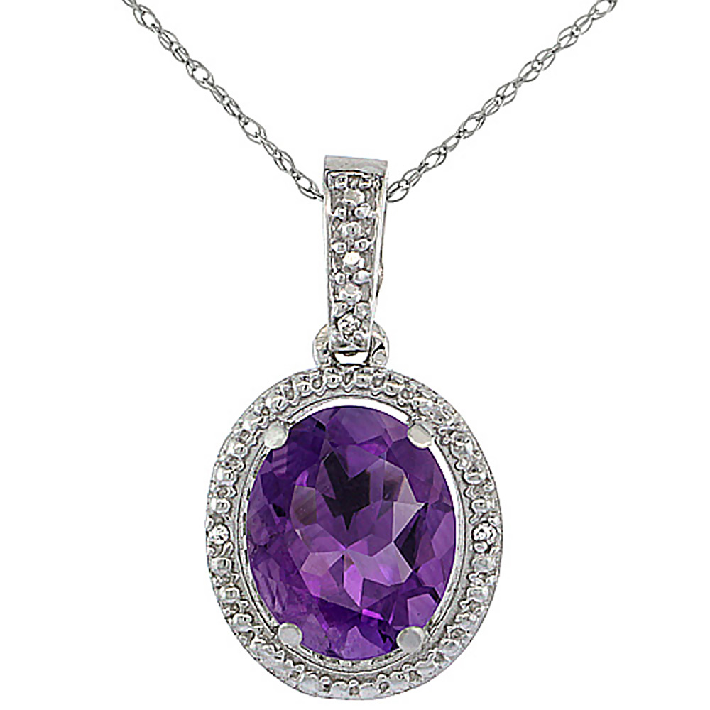 10K White Gold 0.09 cttw Diamond Natural Amethyst Pendant Oval 10x8 mm
