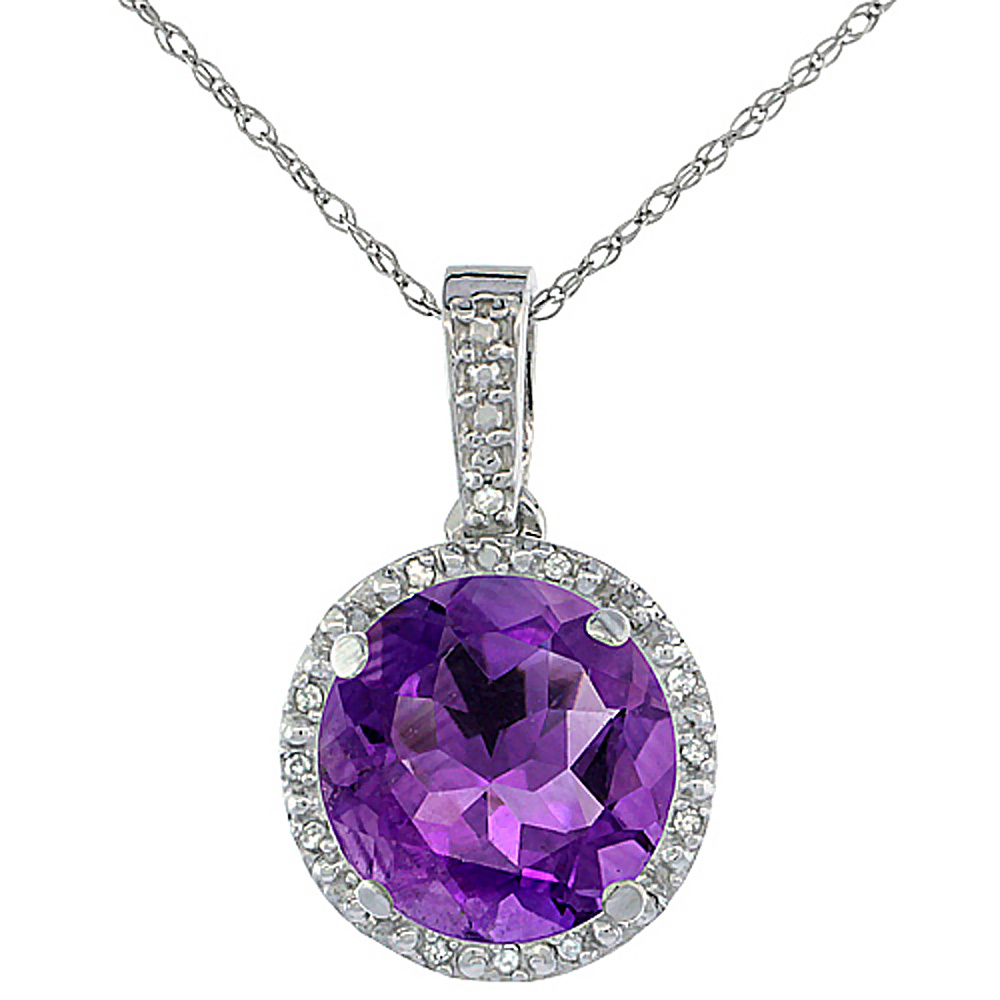 10K White Gold Natural Amethyst Pendant Round 11x11 mm & Diamond Accents
