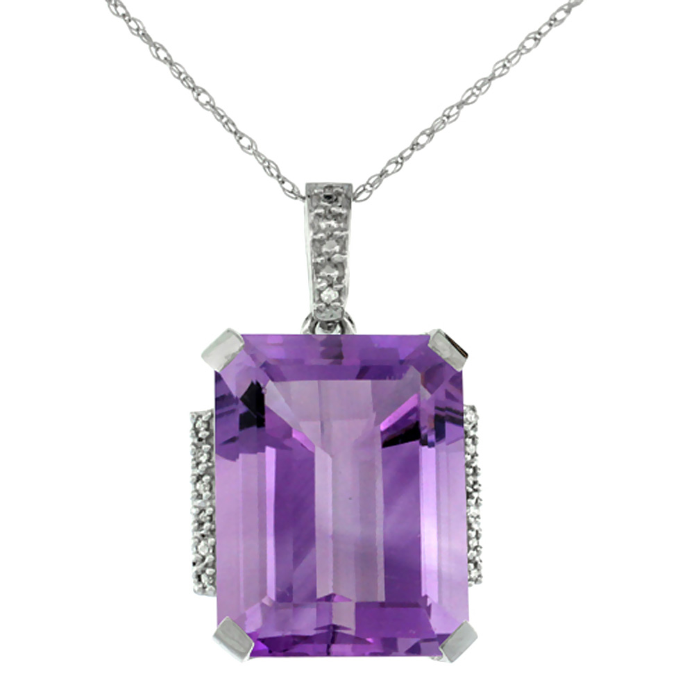 10K White Gold Natural Amethyst Pendant Octagon 16x12 mm & Diamond Accents
